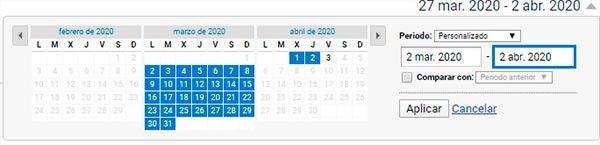 Rango de fechas Google Analytics